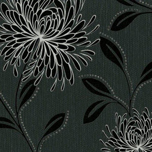 Belgravia decor dahlia designer feature wallpaper black for Black and silver wallpaper