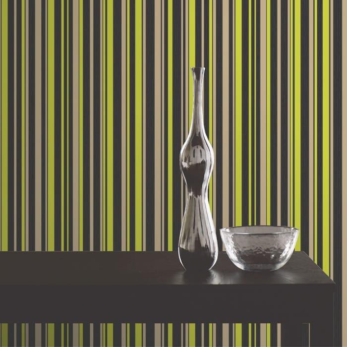 Fine Decor Tulipa Stripe Designer Feature Wallpaper Black