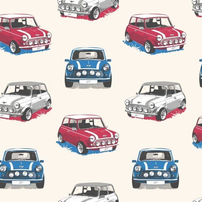 Muriva Mini Cooper GT Designer Feature Wallpaper White