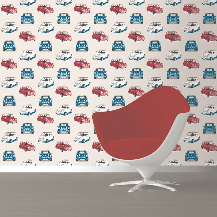 Muriva mini cooper gt designer feature wallpaper white for Bedroom nothing lasts chords