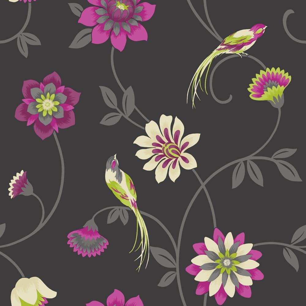 Fine Decor Eden Bird Designer Feature Wallpaper Black