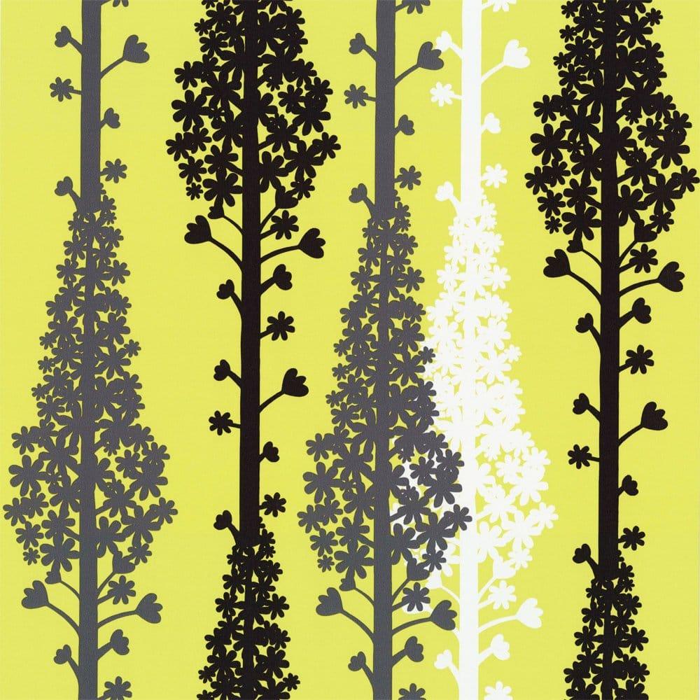 Caselio citric designer feature wallpaper lime green for Lime green wallpaper for walls