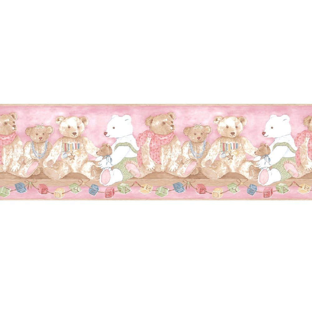 Coloroll vintage alphabet teddy bear designer feature for Wallpaper trim