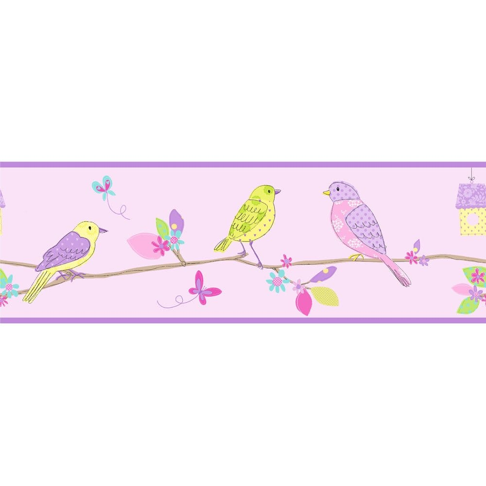 Details about Fine Decor Pretty Birds Hoopla Wallpaper Border Lilac