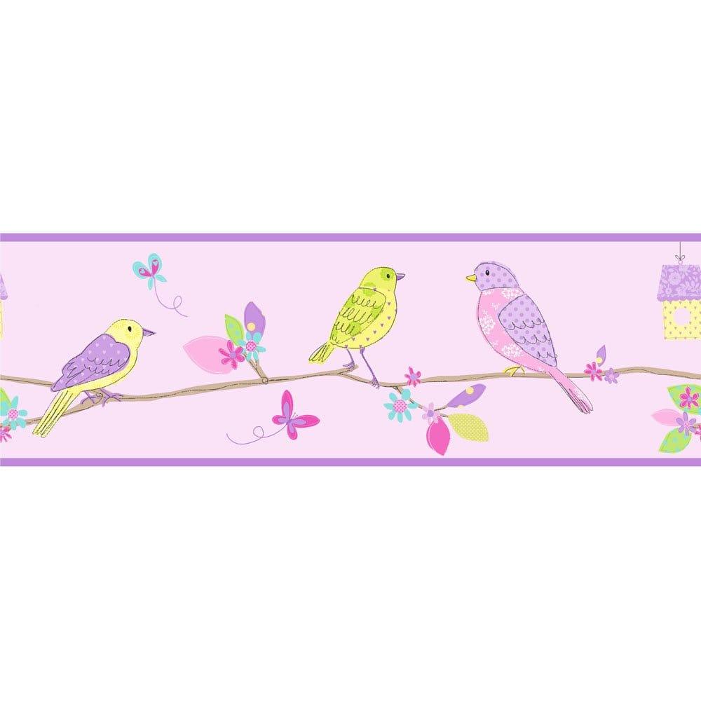 Details about Fine Decor Pretty Birds Hoopla Wallpaper Border Lilac