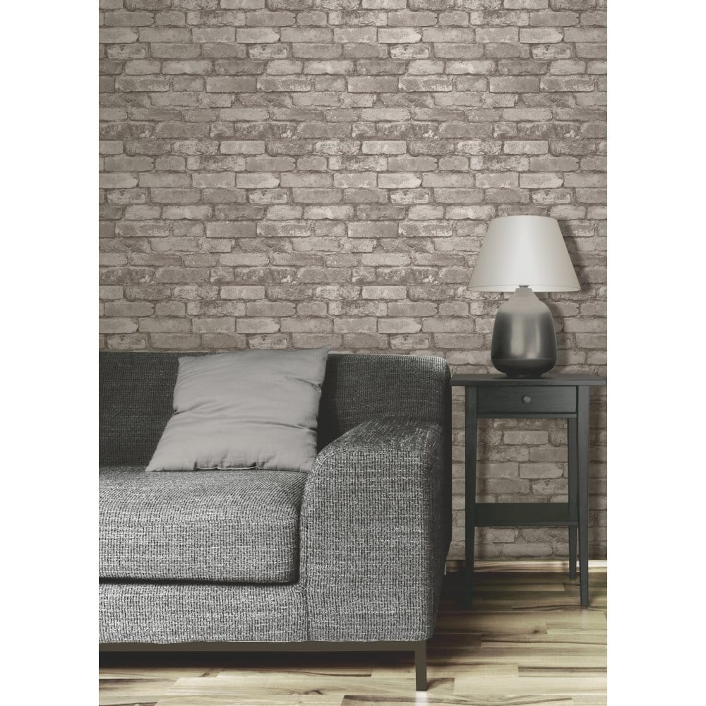 Brick Effect Wallpaper Bedroom Taupe And Blue Bedroom Single Bed Bedroom Designs Bedroom Ideas Cozy: Fine Decor Rustic Brick Designer Feature Wallpaper Cream
