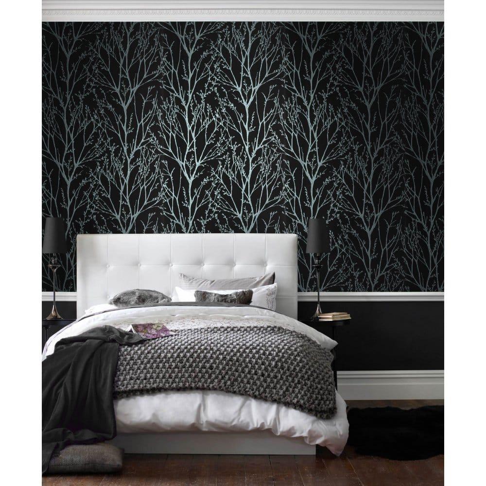 I love wallpaper shimmer designer feature wallpaper for Black silver bedroom ideas