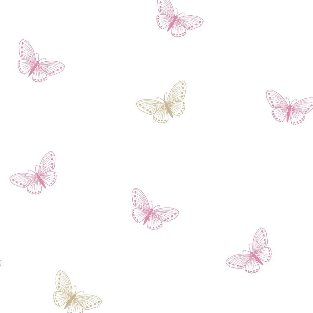 Designer selection flutter butterfly designer wallpaper for Pink and white wallpaper
