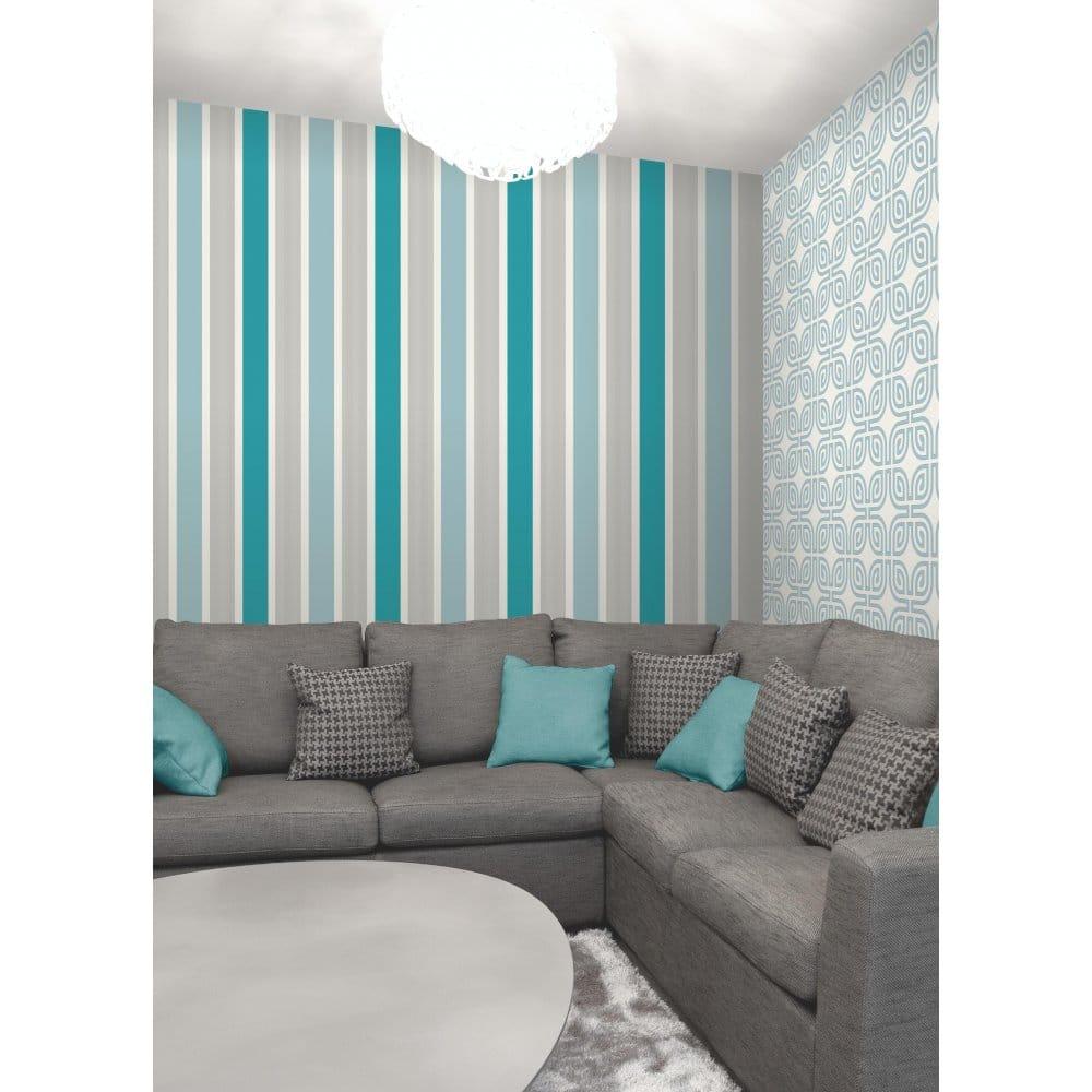 fine decor mangum striped designer feature wallpaper teal