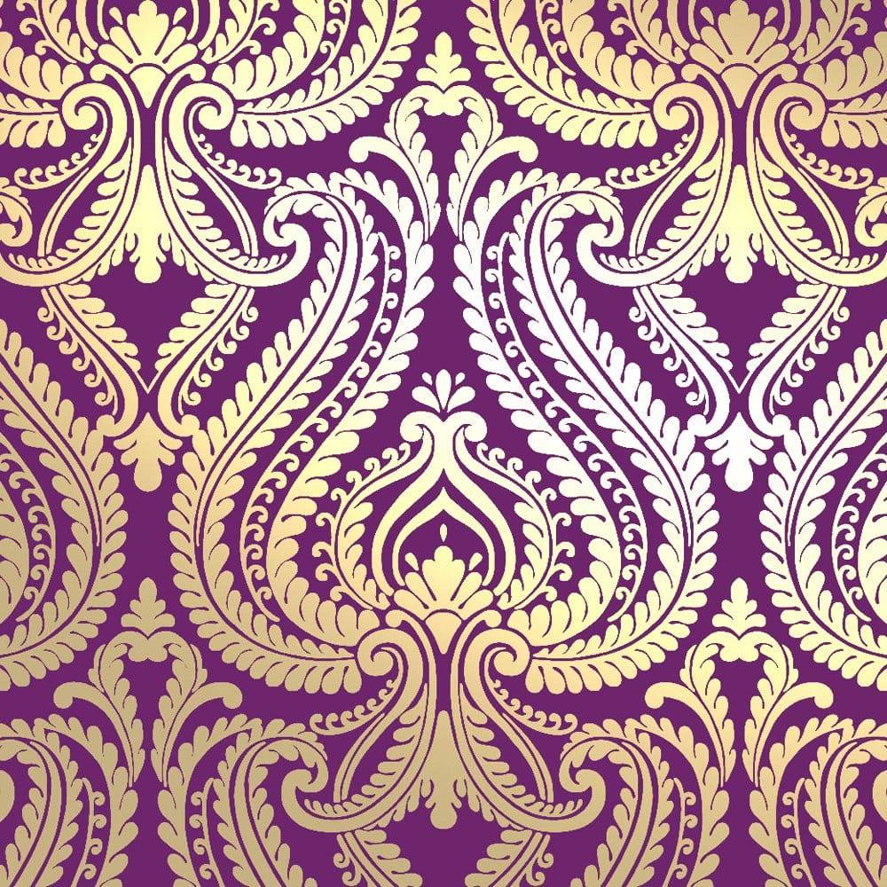 I Love Wallpaper Shimmer Damask Metallic Designer Feature