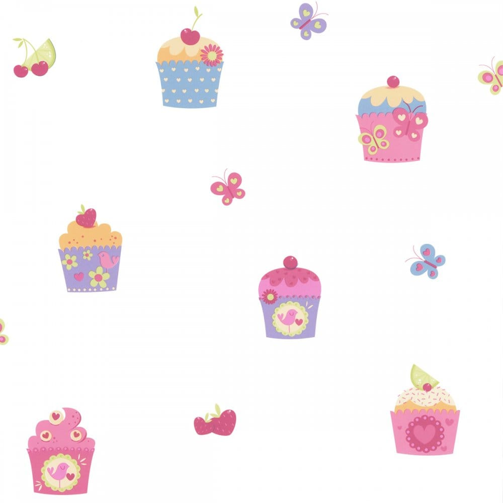Designer Selection Cup Cake Butterfly Kids Wallpaper White