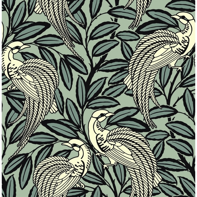A Shade Wilder Tailfeather Peacock Designer Flock Wallpaper Bowler Black (300010)