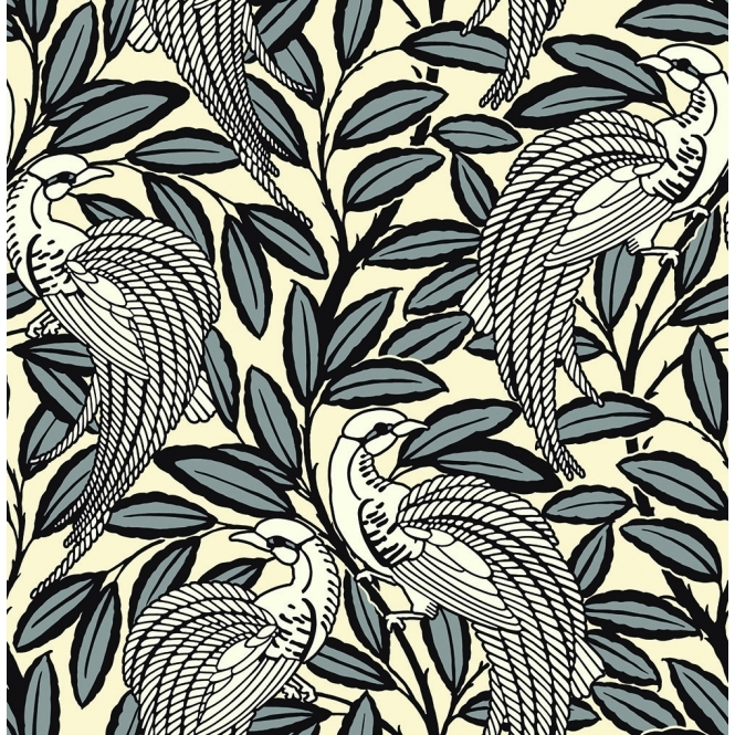 A Shade Wilder Tailfeather Peacock Designer Flock Wallpaper Humbug (300012)