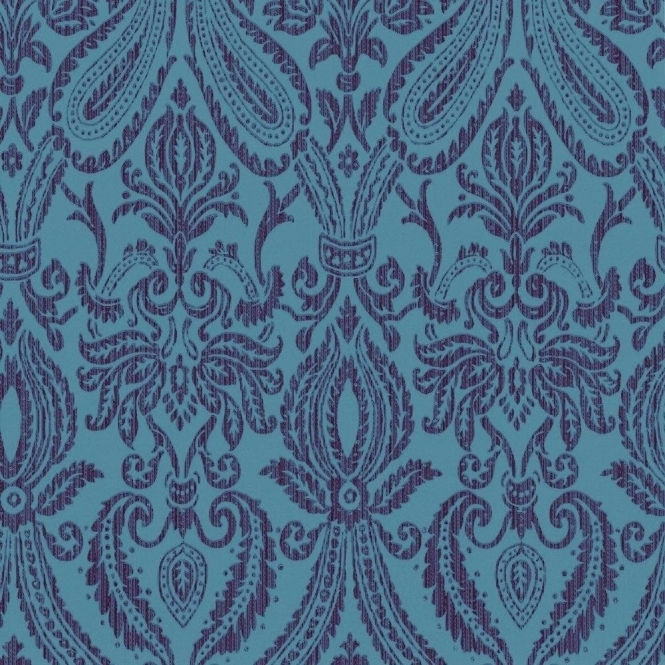 Vymura Adalia Damask Wallpaper Teal / Purple (M0445)