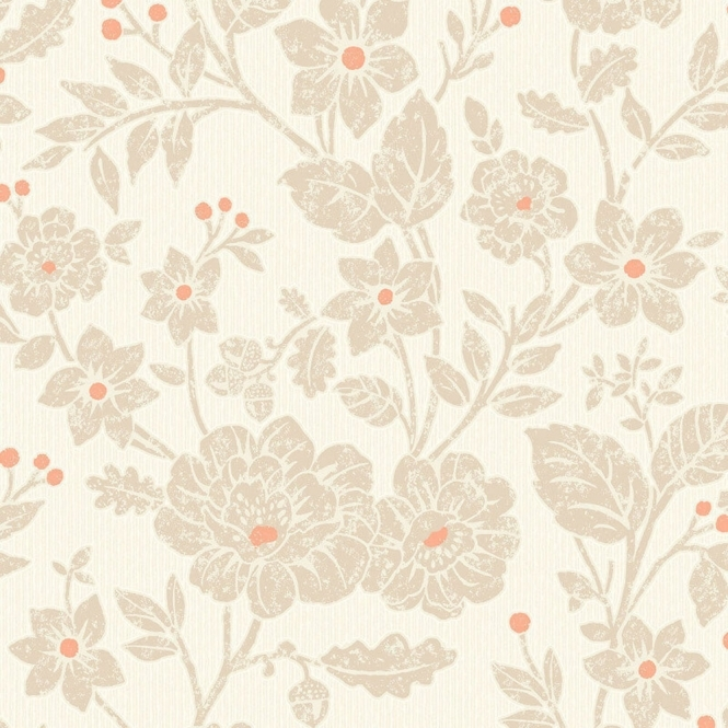 Crown Alexandra Floral Wallpaper Burnt Orange