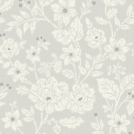 Alexandra Floral Wallpaper Silver Grey