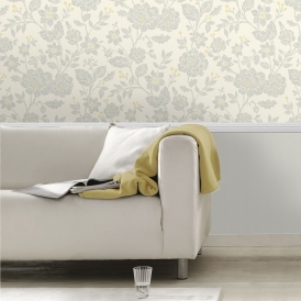 Alexandra Floral Wallpaper Yellow Grey