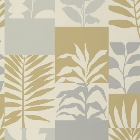 Alexis Leaf Tile Wallpaper Gold