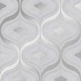 Alicia Geometric Wave Wallpaper Silver