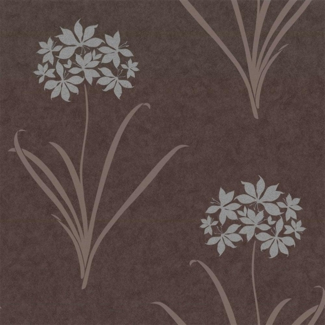 Caselio Aliya Wallpaper Charcoal / Brown / Silver (13851512)
