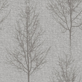 Alonzo Tree Motif Wallpaper Soft Grey Silver