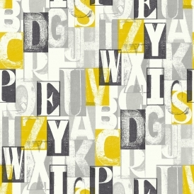 Alpha Letters Wallpaper Black, Yellow (622000)