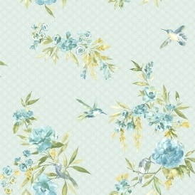 Amaya Birds Floral Wallpaper Soft Teal, Blue (11483)