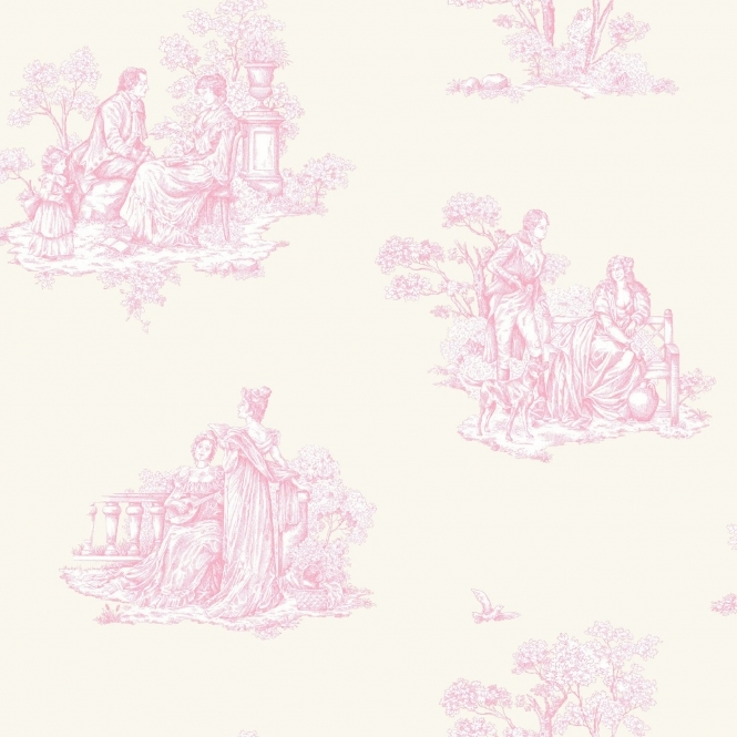 Rasch Amore Toile De Jouy Wallpaper Cream, Pink (204216)