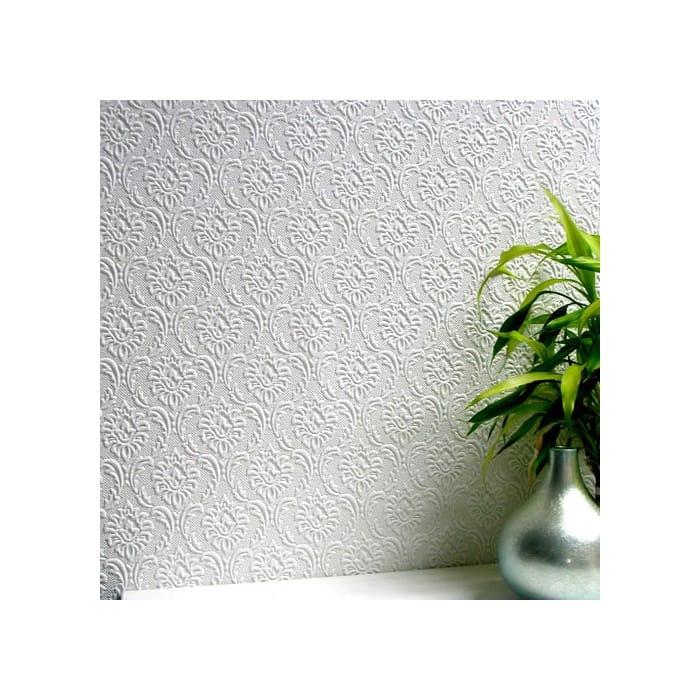 Anaglypta Cornelian Textured Paintable Wallpaper White