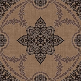 Anise Medallion Flock Wallpaper Bronze