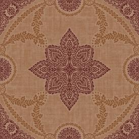 Anise Medallion Flock Wallpaper Copper