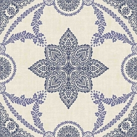 Anise Medallion Flock Wallpaper Navy