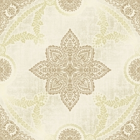 Anise Medallion Flock Wallpaper Neutral
