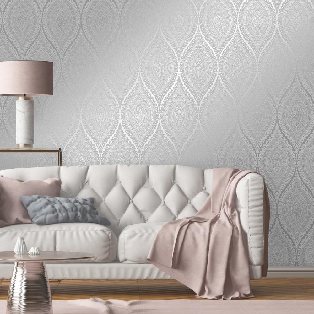 Ariana Wave Wallpaper Grey Silver