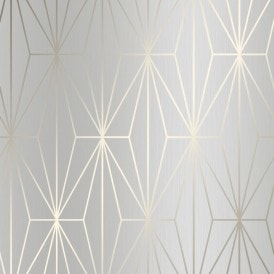 Arna Geo Wallpaper Grey Gold