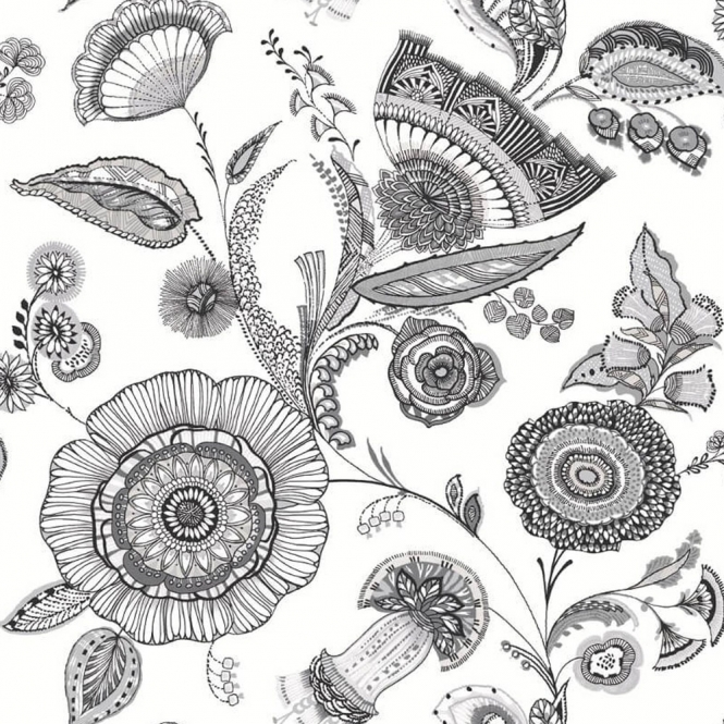 Arthouse Catarina Floral Wallpaper Black White