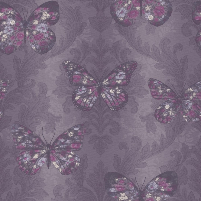 Arthouse Imagine Midsummer Butterfly Wallpaper Plum (661200)