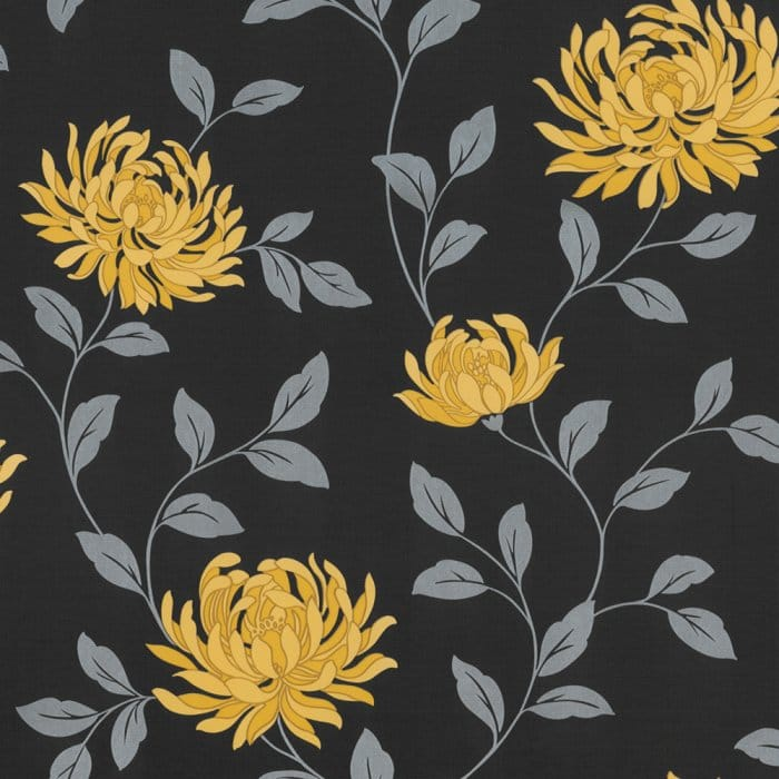 Buy Arthouse L'amour Motif Floral Wallpaper Yellow / Black Yellow Black Flowers Wallpaper
