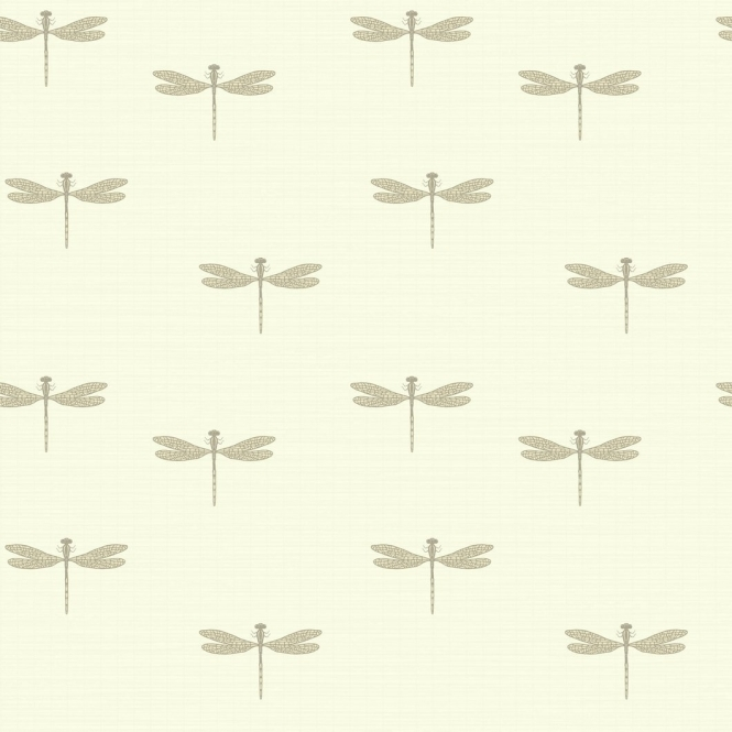 Arthouse Lochs & Lagoons Waters Edge Dragonfly Wallpaper Cream