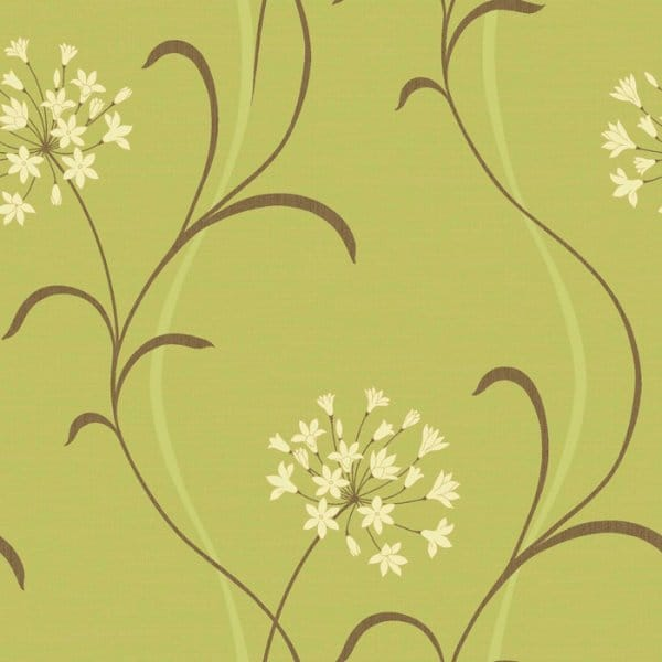 Buy arthouse mia motif wallpaper green cream brown for Cheap green wallpaper