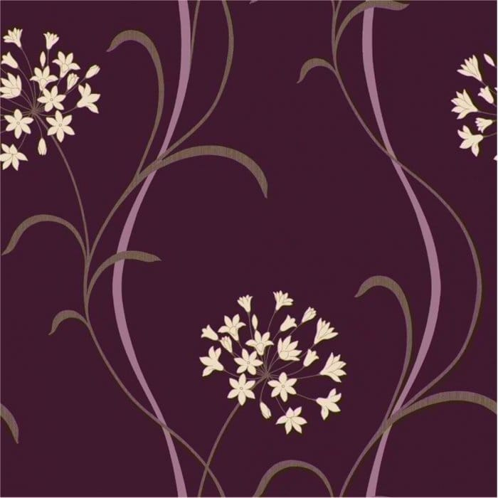 Arthouse Mia Motif Wallpaper Purple Cream Beige