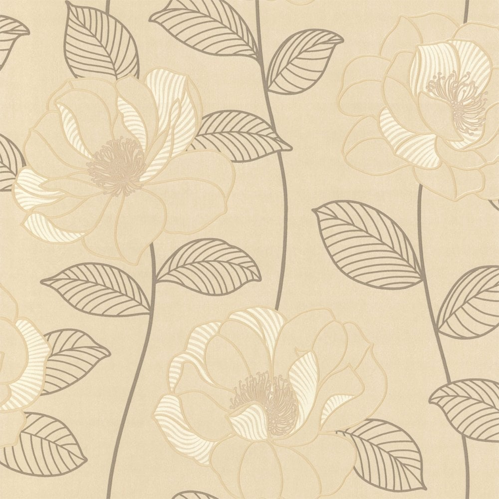 Mystique Floral Wallpaper Cream Brown Beige 440603