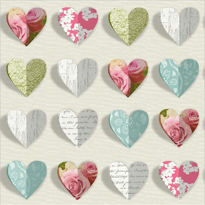 Arthouse Olivia Novelty Hearts Wallpaper Teal, Pink (669700)
