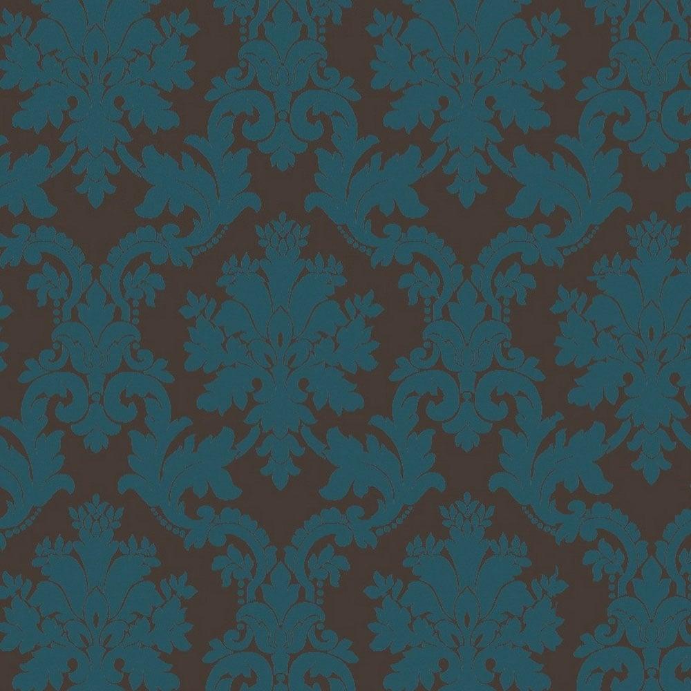 Arthouse Opera Byron Damask Wallpaper Teal Chocolate
