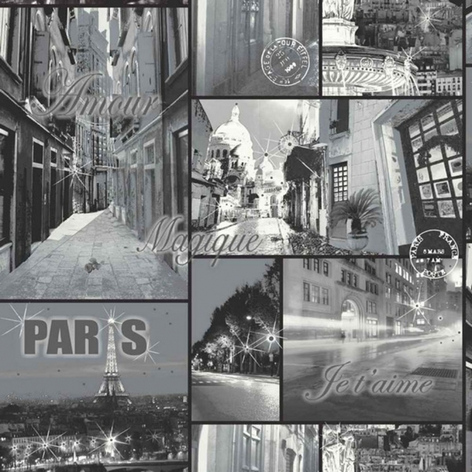 Arthouse Opera Glitter Paris Mural Wallpaper Black (650702)