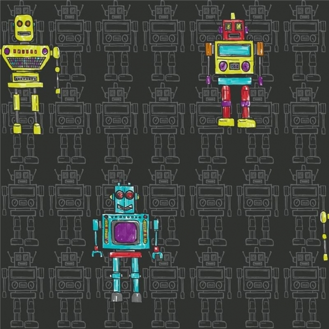 Arthouse Opera Retro Robots Wallpaper Black (534000)