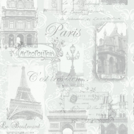 Paris Wallpaper Silver (692001)