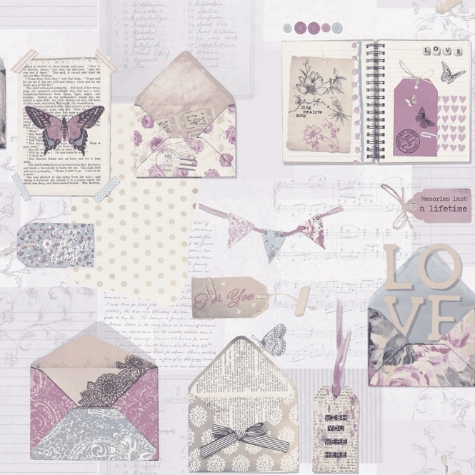 Arthouse PS I Love You Letter Wallpaper Lilac (671201)