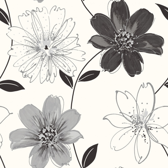 Arthouse Samba Floral Glitter Wallpaper Black, White (699909)