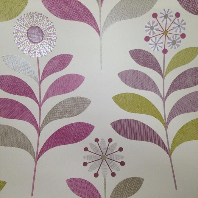Arthouse Tamara Leaf Wallpaper Plum